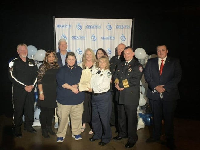 Maury County Emergency responders are recognized with the Star of Life Award for saving an injured motorcyclist on Hampshire Pike in April 2021. Those who responded to the scene were county emergency director Jeff Hardy,Maury County Sheriff Bucky Rowland, E-911 directorMark Gande, Crystal Whitaker,Kelly Walker and Tina Morton, along with county firefighters Bo Harden, Aaron Blalock and Roy Runions. EMS responders Angie Thomason, Shelia Crabtree and Ryan Cothern also responded to the scene and were recognized with the award.