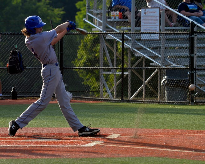 Asheboro's Connor Adams hits a grounder against Southwestern Randolph. The Blue Comets have won 10 games in a row. [Mike Duprez/Courier-Tribune]