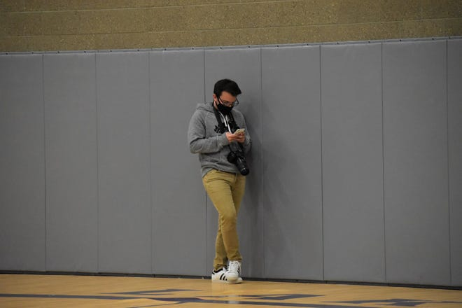 Jack Williams covering a game at Lakota Community Center.
