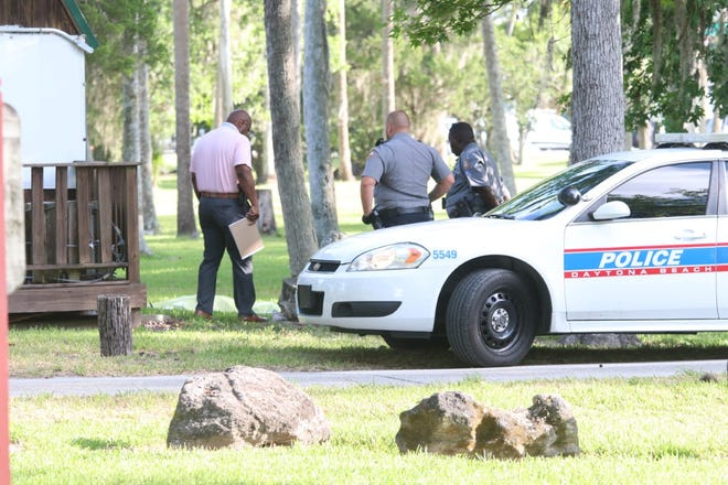 Daytona Beach police investigate the discovery of a body at Tuscawilla Park. The deceased man was found near the zipline office building on Wednesday morning, June 9, 2021