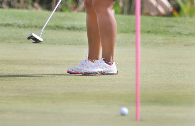 Min-G Kim hits a put, Friday October 2, 2020 during round 2 of the 2020 Symetra Classic.