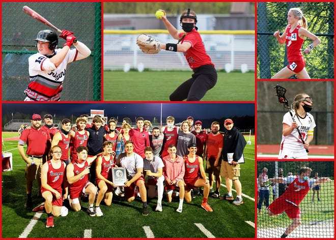Among many North Pocono athletes (clockwise from left) Jake Millan, Alexa Stevens, Emily Franklin, Kendra Jordan, and Chris Kryeski provided much excitement this spring while the boys track and field team secured a District 2 Class AAA championship.