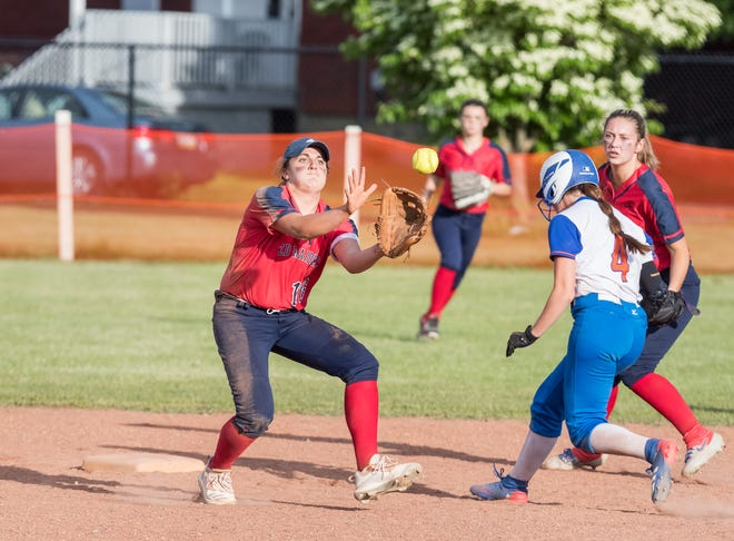 Hornell's Juliet Marino prepares to make the catch at second base as Cassidy Cook backs her up.