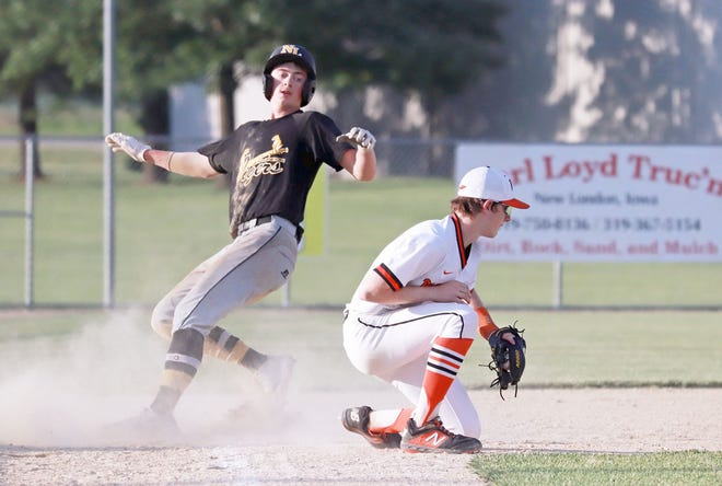 New London's Kooper Schultie is safe at third base in the Tigers win over Van Buren County Tuesday at Prottsman Field.