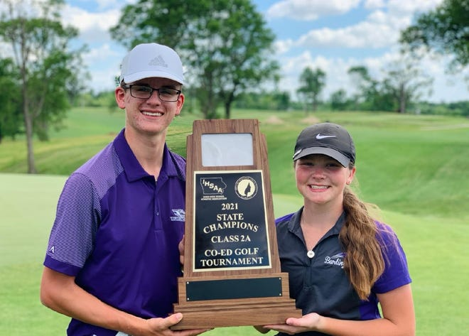 Burlington High School junior Nate Spear (left) and Lauren Briggs won the Class 2A Coed State Golf Championship Tuesday at Marshalltown.