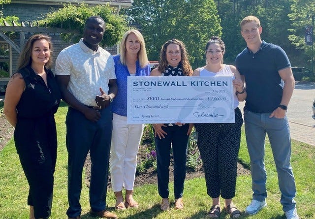 Stonewall Kitchen recently gave a $1,000 donation to Seacoast Endowment for Education in Dover. From left to right, SEED representative Mindy Marcouillier, Markus Brave, Sue Vitko and Natalie Koellmer stand with Stonewall Kitchen representatives Michelle Poulin and Matt Robertson