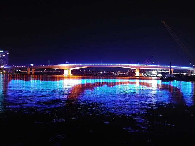 Acosta Bridge, with blue lights, in Downtown Jacksonville Tuesday night, June 8, 2021.