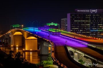 A close-up of Monday's rainbow lighting on the JTA's Acosta Bridge to honor Pride Month.