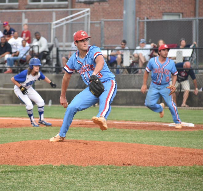 Lincoln Charter's Mason Smith prepares to deliver toward home plate in his team's matchup at Cherryville on Tuesday.
