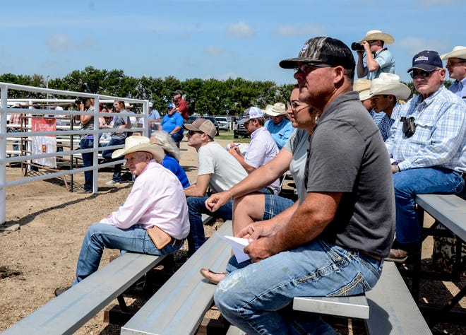 People fill the stands at the Finnery County Fairgrounds Tuesday for Beef Empire Days Merck Animal Health Live Show.