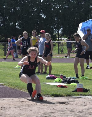 Karly Wampler competes for Orion in the triple jump at the Class 1A sectional meet on Thursday, June 3, at Rockridge High School near Edgington