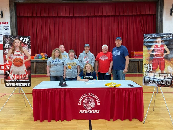 RayAnn VanAkin with her family at her national signing day to join the Spring Arbor University women's basketball team