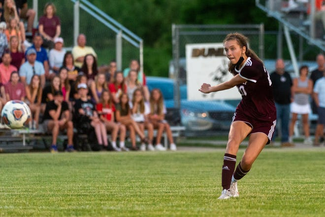 Junior Lily Sutter watches her free kick sail in to the back of the net during the second half of Dunlap's 1-0 win over Washington in a Class 2A sectional semifinal. Sutter is the 2021 Central Illinois High School Sports Awards girls soccer player of the year.