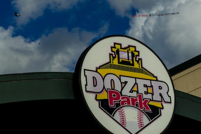 A plane with a message on a banner circles around Dozer Park before a Peoria Chiefs game on Tuesday, June 8, 2021.