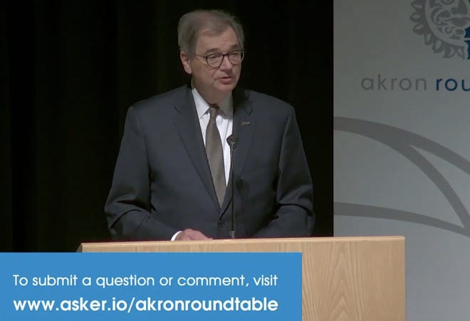 """Gary Miller, president of The University of Akron, spoke at the Akron Roundtable: """"Post Pandemic Urban Higher Education: The New Meaning of Place"""", airing on HCTV."""