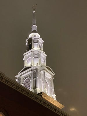 The Park Street Church at 1 Park St. near the Boston Common was built in 1809. In normal times, it averages 2,000 in Sunday attendance and has around 1,000 members.