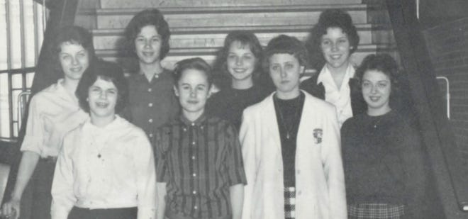 Pictures of the Past is from the 1961 Lincoln Community High School yearbook. The photo shows members of the publicity crew. From left row one: Margaret Buchanan, Elizabeth Irish, Dorita Gehlbach and Kay Yago. Row two: Nancy Tague, Bonnie Bayer, Doris Fusting and Kathi Dehner.