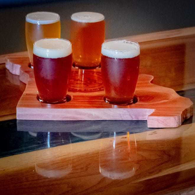 A beer flight at Lake of the Ozarks Brewing Company.