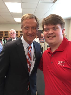 Blake Ivey is shown with former Tennessee Gov. Bill Haslam during the governor's visit to the Campbell County campus of Roane State Community College. This photo was taken prior to the pandemic.