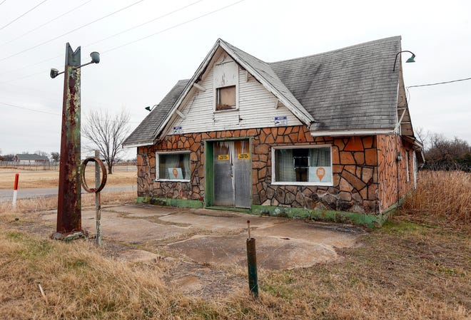 """The historic Threatt Filling Station on Route 66 at Pottawatomie Road in Luther was recently named to the 2021 list of America's """"Most Endangered Historic Places"""" by the National Trust for Historic Preservation."""