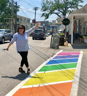 Laura Dolce at the Pride Crosswalk in Kennebunkport.