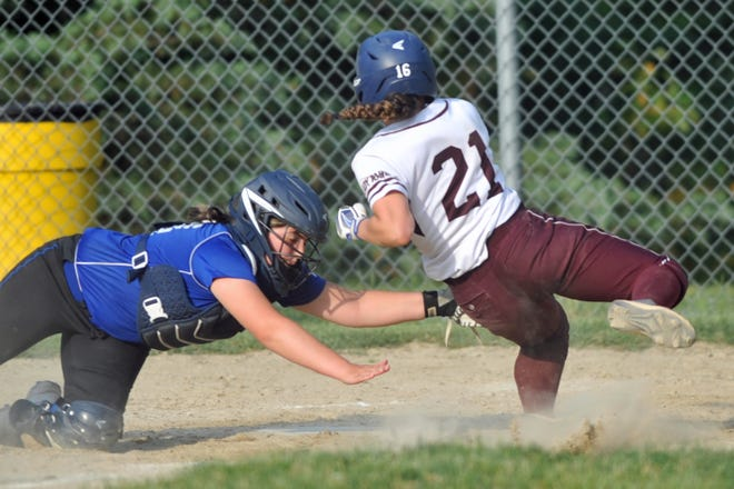 Ashleigh Hartsfield, left, and the Cumberland softball team were beaten by La Salle in their regular-season finale more than a week ago. On Thursday, the Clippers got their revenge and upset the third-seeded Rams, 6-4, in the quarterfinals of the Division I softball tournament.