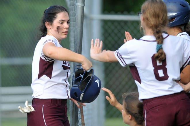 La Salle's Claire Boulanger gets high-fives from teammates after scoring in the fourth inning of Wednesday's win over Cumberland.