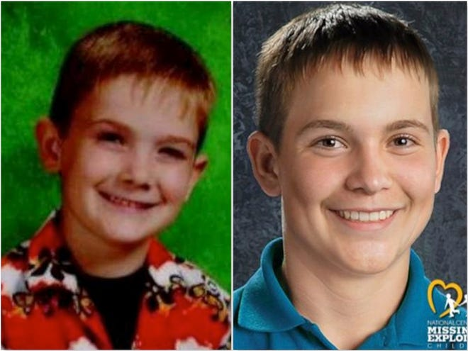 The National Center for Missing and Exploited Children has released a 10-year age-progressed image of Timmothy Pitzen (right). Pitzen, seen left at age 6, has been missing since 2011 after his mother Amy Fry-Pitzen was found dead in a Rockford motel.