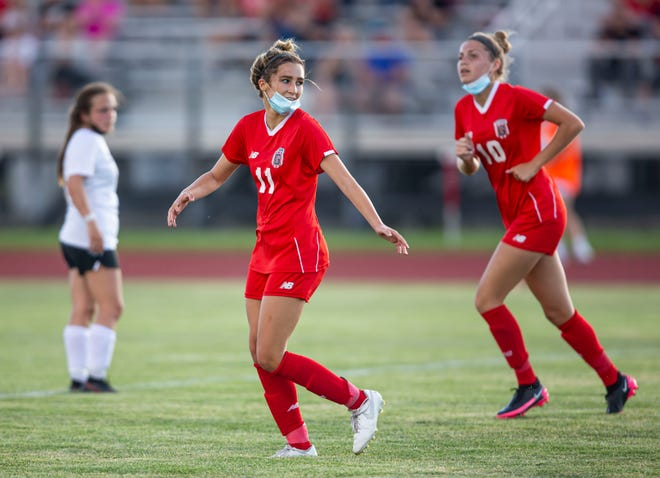 Glenwood's Ella Beeler (11) celebrates a goal against Champaign Central in the first half during the Class 2A Sectional Semifinals at Glenwood High School in Chatham on Tuesday. [Justin L. Fowler/The State Journal-Register]