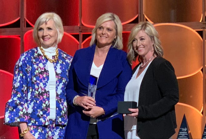 Shown, from left, are Dr. Pam Deering, CCOSA executive director and OASA executive director; Dr. April Grace, Shawnee Public Schools superintendent; and April Buoy, Oklahoma manager at American Fidelity.