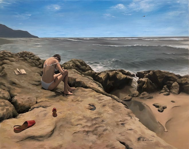 """Bella Sollosi's """"Sunbathing,"""" an oil-on-canvas painting, placed first in the 2021 North Carolina Community College System Office Student Art Exhibit."""