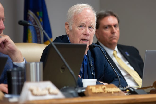 Jim Porter, chairman of the Kansas State Board of education, speaks at a meeting earlier this year. The board approved a statement earlier this week noting that critical race theory isn't a part of Kansas curriculum standards
