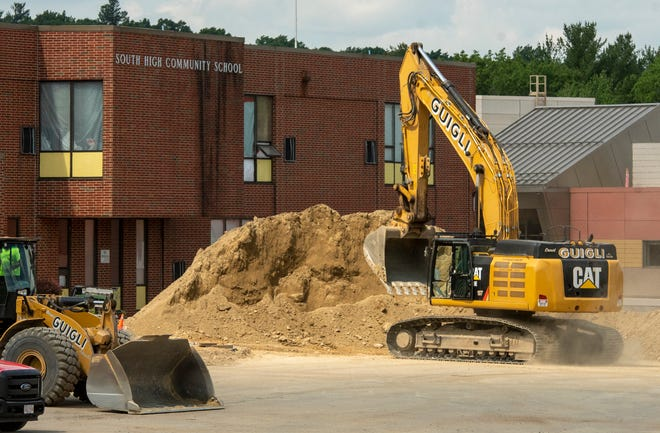 The preparation for the demolition of South High Community School continued Wednesday.