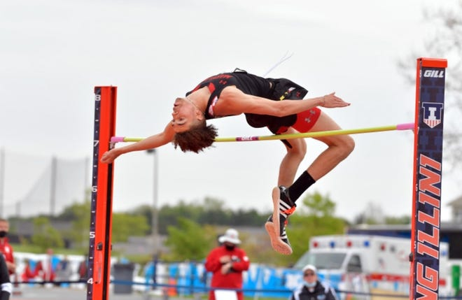 Maryland's Kaithon McDonald clears the bar at 7 feet, 1/4 inch to place third in the high jump at the Big Ten track and field championships May 15 in Champaign, Ill.