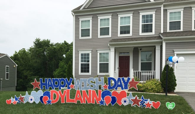The front lawn of Dylann Wetzel's Keedysville home was decorated Wednesday in anticipation of the unveiling of her new 6-year-old indoor hockey rink.