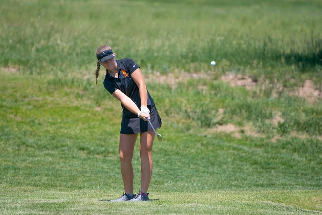 La Junta High School's Morgan McReynolds chips onto the 14th green during the Class 3A Region 1 girls golf tournament at Hollydot Golf Course in Colorado City on Wednesday June 9, 2021.