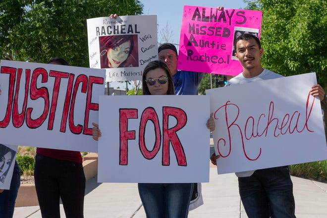 Family and friends of Racheal Gallegos and Frank Chavez gathered outside the Dennis Maes Judicial Building to ask for justice to be leveled against the woman who had allegedly driven under the influence and run a red light, resulting in the deaths. Photo taken June 9, 2021.