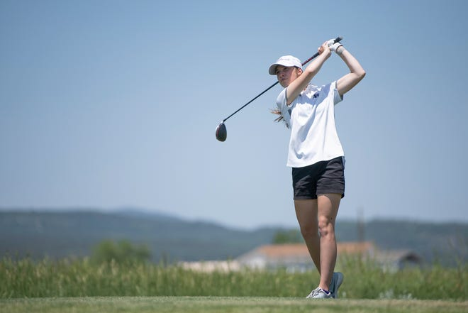 Rye High School's Morgan Voss tees off on the 14th hole of the Class 3A Region 1 girls golf tournament at Hollydot Golf Course in Colorado City on Wednesday June 9, 2021.