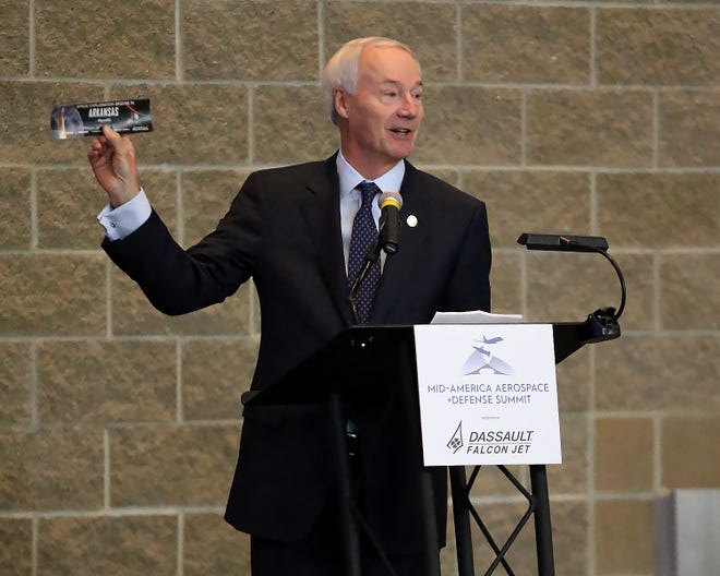 Gov. Asa Hutchinson requested Heartland Forward of Bentonville look at Arkansas' economy pushing through the COVID-19 pandemic. The report, called the Arkansas Economic Recovery Strategy found a need for apprenticeships to develop talent in the workforce and assistance to working women with children. Hutchinson is seen here on June 9 in Fort Smith during the Mid-America Aerospace & Defense Summit.