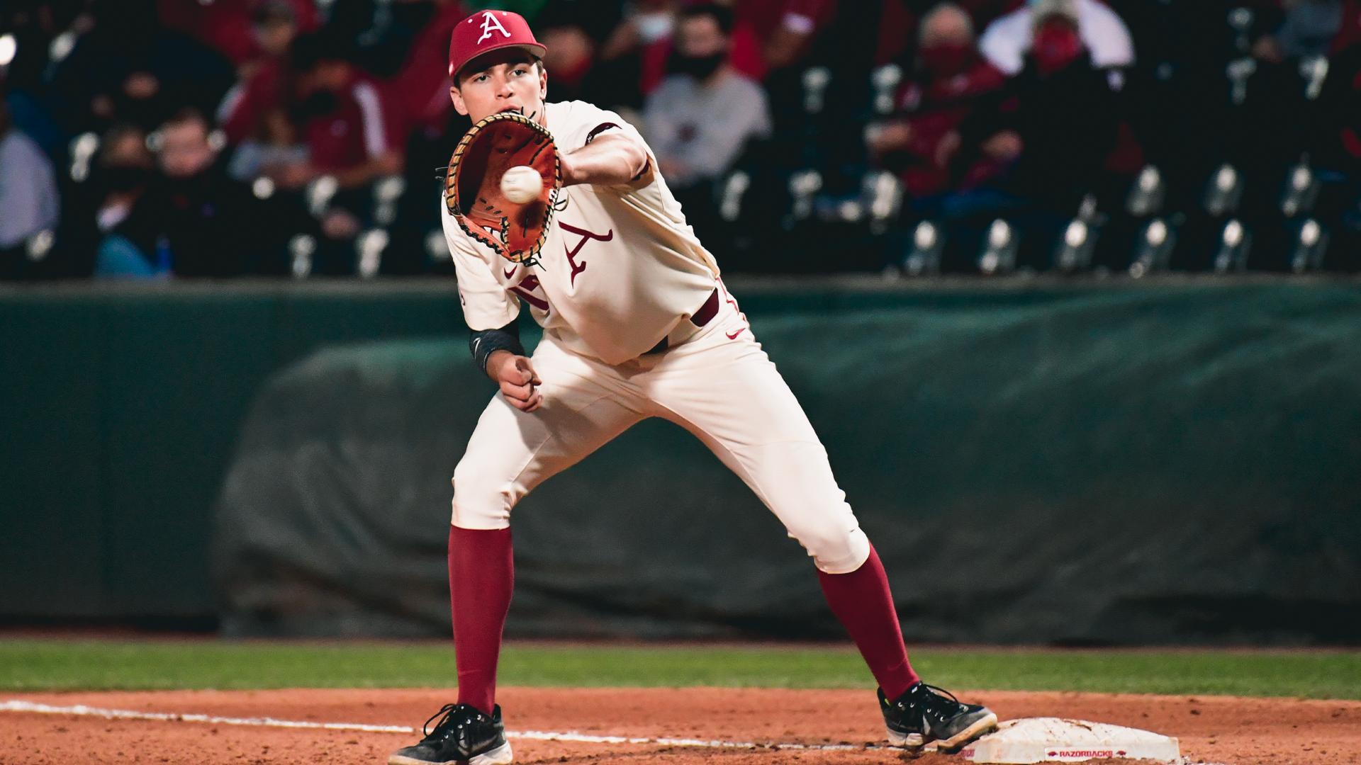 Arkansas first baseman Brady Slavens
