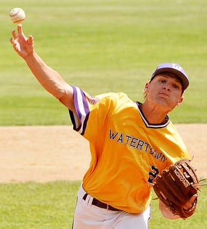 Watertown Post 17 pitcher Braedon Zaug releases a pitch during Tuesday's American Legion Baseball doubleheader against Yankton at Watertown Stadium. The two teams split the twinbill.