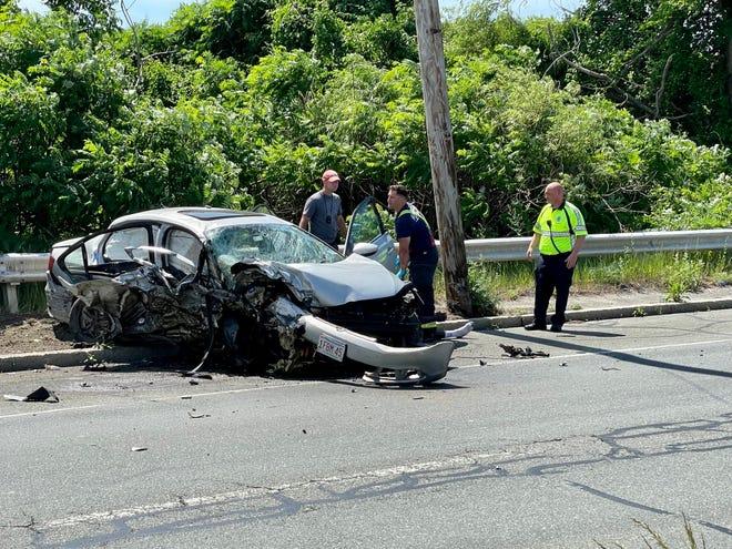 The crash scene on Route 107 Wednesday.