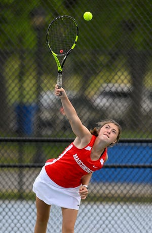 Masconomet first doubles player Chloe Ahern serves the ball during a match versus Winthrop at Ingleside Park in Winthrop on Thursday, June 3.