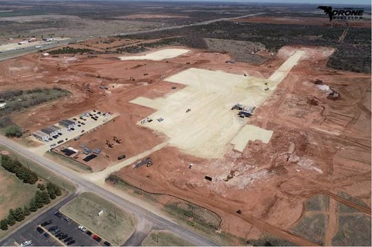 An aerial photograph shows that initial site work has started on a second Georgia-Pacific gypsum board production facility in Sweetwater.
