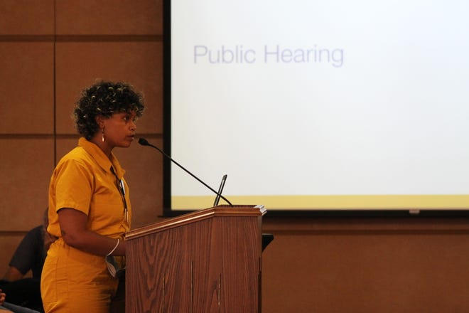 Grits, with the Racial Justice Coalition, speaks at the Asheville City Council meeting June 8, during the public hearing for the city's 2021-22 budget.