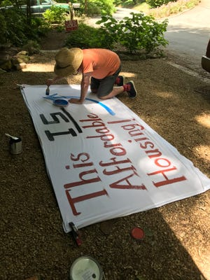"""A sheet being prepared for """"Wrap Charlotte Street,"""" which aims to circle a block on Charlotte Street to show the potential scale of a proposed development."""