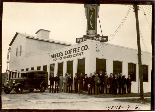 Employees stand outside the Nueces Coffee Co. at 707 Lester Avenue in Corpus Christi in 1935. Photo courtesy La Retama's Local History Room, Special Collections and Archives.