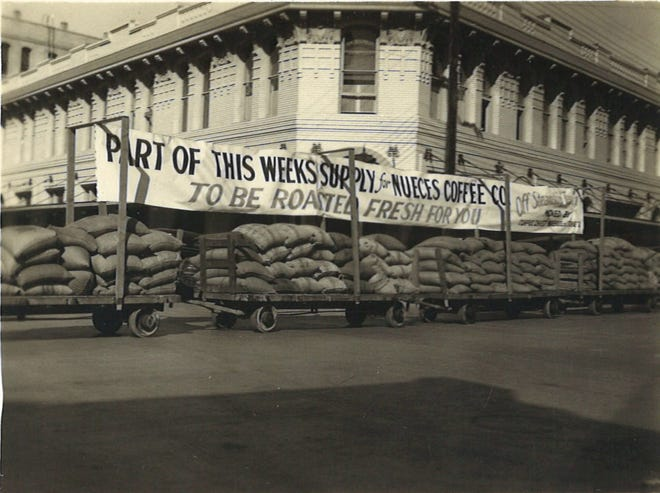 In the 1930s, the Nueces Coffee Co. would haul the loads of green coffee beans from the Port of Corpus Christi through downtown to the business on Lester Avenue as an advertisement of the week's supply of coffee.