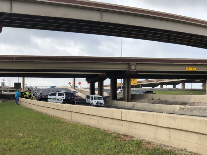 Corpus Christi police investigate at the scene of a fatal accident involving a pedestrian at SPID near Greenwood early Wednesday morning.