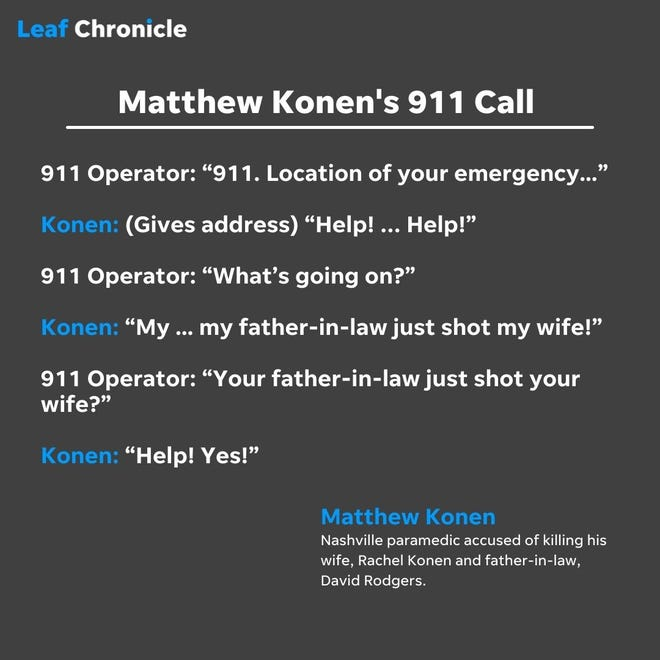 Matthew Konen told emergency dispatchers that his father-in-law had shot his wife when he initially called police.
